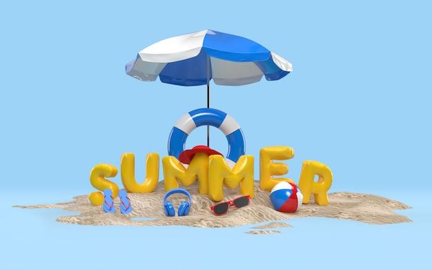 Tekst 3d lato na plaży na wyspie z parasolem plażowym, szkłem słonecznym, klapkami, piłką, pływającym pierścieniem. projekt koncepcji wakacyjnych wakacji. renderowanie 3d