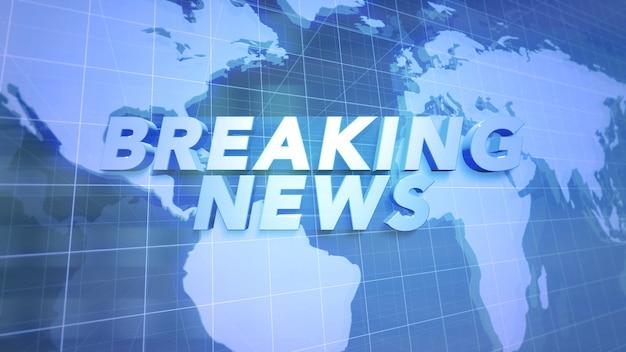 Tekst breaking news i wiadomości graficzne z mapy świata w studio, abstrakcyjne tło. elegancki i luksusowy styl ilustracji 3d dla szablonu wiadomości