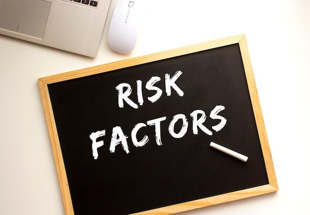 Tekst czynniki ryzyka napisany kredą na tablicy łupkowej