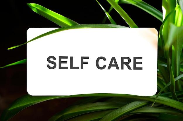 Tekst dotyczący samoopieki na białym tle otoczony zielonymi liśćmi