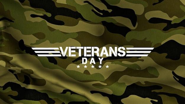 Tekst dzień weteranów na zielonym tle wojskowych. elegancka i luksusowa ilustracja 3d dla szablonu wojskowego i wojennego