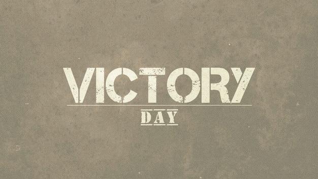 Tekst dzień zwycięstwa na wojskowym tle z grunge tekstur. elegancka i luksusowa ilustracja 3d dla szablonu wojskowego i wojennego