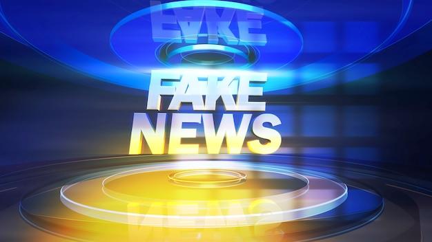 Tekst fake news i grafika wiadomości z liniami i okrągłymi kształtami w studio, abstrakcyjne tło