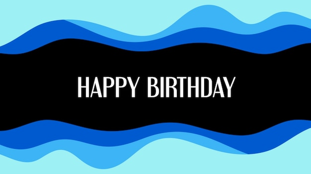 Tekst happy birthday i abstrakcyjne kształty geometryczne, tło memphis. elegancki i luksusowy styl ilustracji 3d dla szablonu biznesowego i korporacyjnego