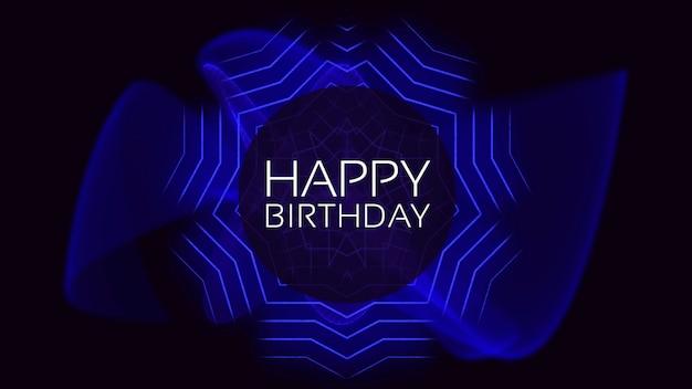Tekst happy birthday i streszczenie neonowe niebieskie linie, tło disco. elegancki i luksusowy styl ilustracji 3d dla szablonu klubowego i korporacyjnego