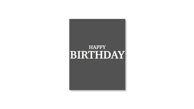 Tekst happy birthday na białym tle mody i minimalizmu. elegancki i luksusowy styl ilustracji 3d na szablon wakacyjny i firmowy