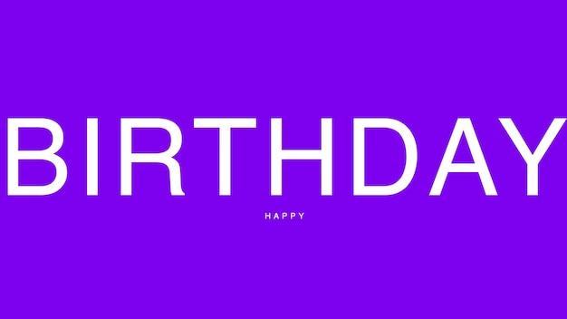 Tekst happy birthday na fioletowym tle mody i minimalizmu. elegancki i luksusowy styl ilustracji 3d na szablon wakacyjny i firmowy