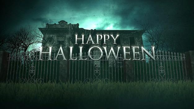 Tekst happy halloween i mistyczny horror tło z domu i księżyc, streszczenie tło. luksusowa i elegancka ilustracja 3d motywu horroru