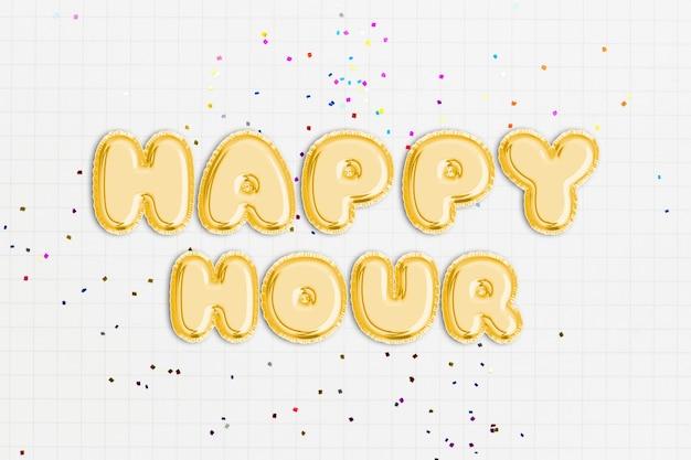 Tekst happy hour czcionką balonową