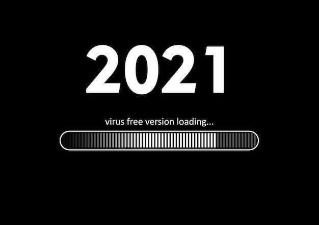 Tekst - ładowanie i pasek ładowania wersji wolnej od wirusów 2021 na czarnym tle