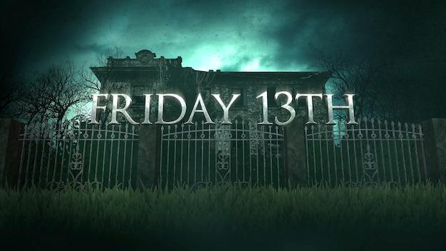Tekst piątek 13 i mistyczne tło horroru z domem i księżycem