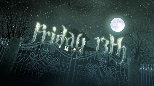 Tekst piątek 13 i mistyczny horror tło z domu i księżyca, streszczenie tło. luksusowa i elegancka ilustracja 3d motywu horroru