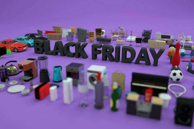 Tekst reklamy 3d czarny piątek. graficzny baner reklamowy, wokół jest wiele rzeczy. model 3d banera black friday. czarny tekst, litery. widok z boku