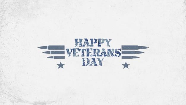 Tekst szczęśliwy dzień weteranów na tle wojskowych z nabojami. elegancka i luksusowa ilustracja 3d dla szablonu wojskowego i wojennego