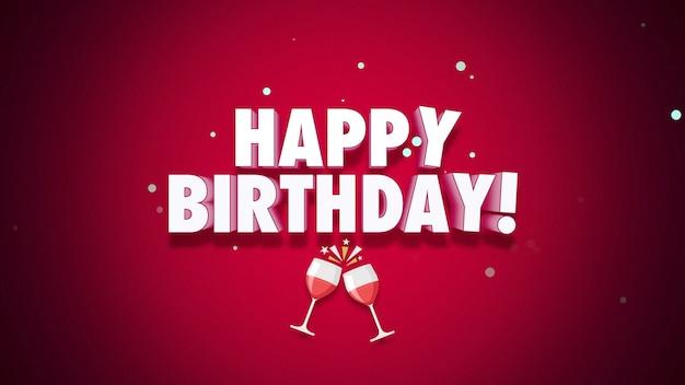 Tekst szczęśliwy urodziny zbliżenie na czerwonym tle. luksusowy i elegancki styl ilustracji 3d na wakacje