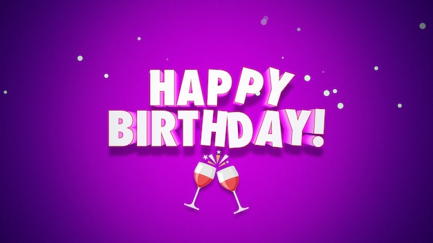 Tekst szczęśliwy urodziny zbliżenie na fioletowym tle. luksusowy i elegancki styl ilustracji 3d na wakacje