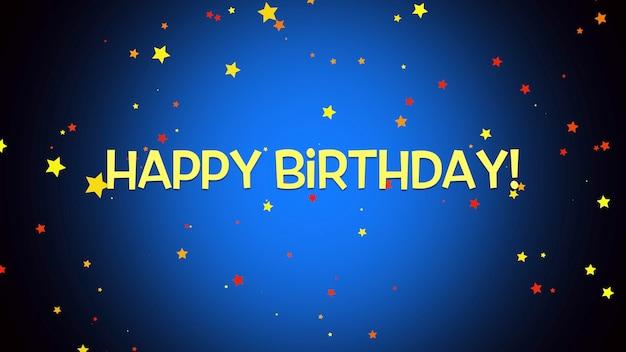 Tekst szczęśliwy urodziny zbliżenie na niebieskim tle. luksusowy i elegancki styl ilustracji 3d na wakacje