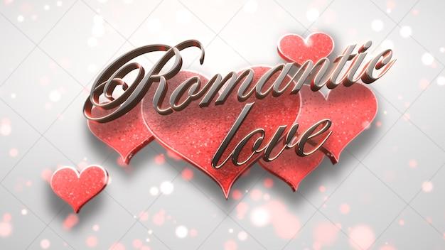 Tekst zbliżenie romantyczna miłość i romantyczne serce na błyszczącym tle walentynki. luksusowy i elegancki styl ilustracji 3d na wakacje