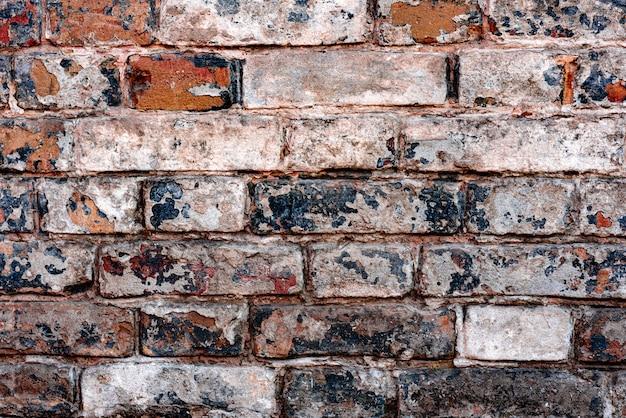 Tekstura, cegła, ściana, może służyć jako tło. ceglana tekstura z zadrapaniami i pęknięciami
