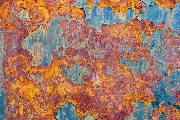 Tekstura farby i rdzy w kolorach pomarańczowym, czerwonym, żółtym i cyjan. tło przemysłowe.