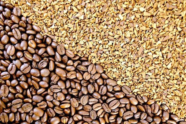 Tekstura kawy ziarnistej i ziarnistej