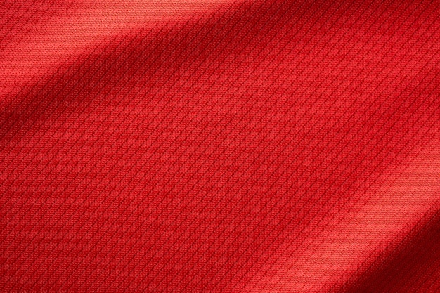 Tekstura koszulki piłkarskiej czerwony odzież sportowa z bliska