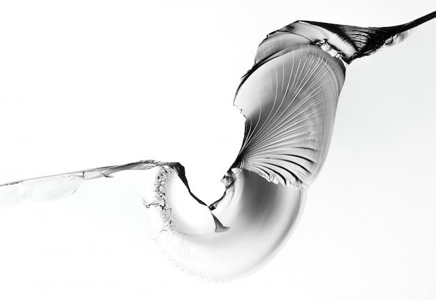 Tekstura łamany szkło, makro- fotografia na białym tle.