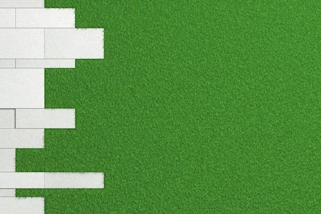 Tekstura płyt o różnych rozmiarach szorstkiego betonu układanego na zielonym trawniku. 3d ilustracja