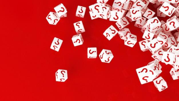 Tekstura rozrzuconych kostek ze znakiem zapytania. 3d ilustracji