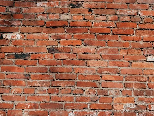 Tekstura stary ściana z cegieł jest czerwonym tłem