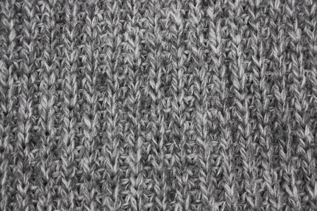 Tekstura szara trykotowa wełniana tkanina