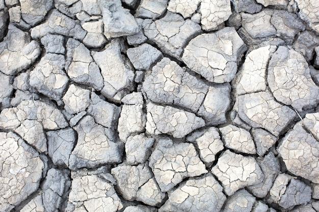 Tekstura szarej popękanej ziemi, wysuszonej gliny wulkanicznej z pęknięciami. ultimate grey. naturalne tło, lato