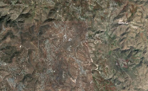 Tekstura widoku satelitarnego z góry nad palestyną zachodniego brzegu