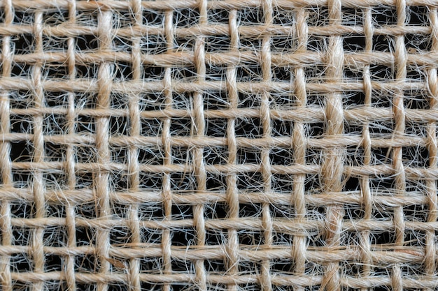 Tekstura wory. tkanina z włókna jutowego