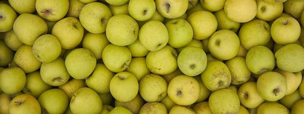 Tekstura zielone jabłko, obraz banera z miejscem na kopię