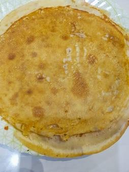 Tekstura złote tosty pyszne naleśniki, widok z góry.