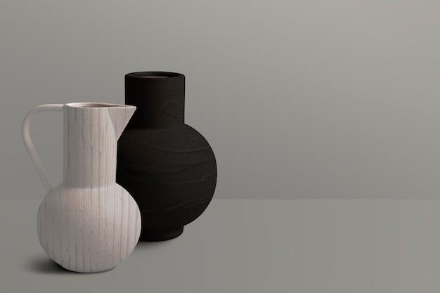 Teksturowane ceramiczne wazony dzbankowe z przestrzenią do projektowania