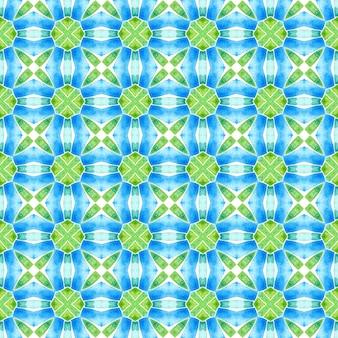 Tekstylia gotowe rzeczywisty nadruk, tkanina na stroje kąpielowe, tapeta, opakowanie. zielony, żywy, elegancki, letni projekt boho. ręcznie malowane kafelkowe obramowanie akwarela. kafelkowy tle akwarela.