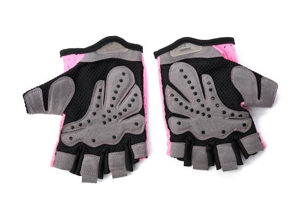 Tekstylne rękawiczki sportowe do treningu fitness i jazdy na rowerze na białym tle, z bliska