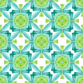 Tekstylny gotowy świeży nadruk, tkanina na stroje kąpielowe, tapeta, opakowanie. zielony genialny boho chic letni projekt. arabeska orientalna ręcznie rysowane granicy. arabeska ręcznie rysowane projekt.