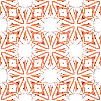 Tekstylny kuszący nadruk, tkanina na stroje kąpielowe, tapeta, opakowanie. pomarańczowy majestatyczny letni projekt boho. ręcznie rysowane bezszwowe granica zielona mozaika. wzór mozaiki.