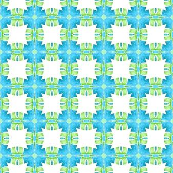 Tekstylny rzadki nadruk, tkanina na stroje kąpielowe, tapeta, opakowanie. zielony ekstatyczny letni projekt w stylu boho. ręcznie rysowane bezszwowe granica zielona mozaika. wzór mozaiki.
