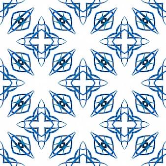Tekstylny zniewalający nadruk, tkanina na stroje kąpielowe, tapeta, opakowanie. niebieski idealny letni szyk boho. etniczne ręcznie malowane wzór. akwarela lato wzór granicy etnicznej.