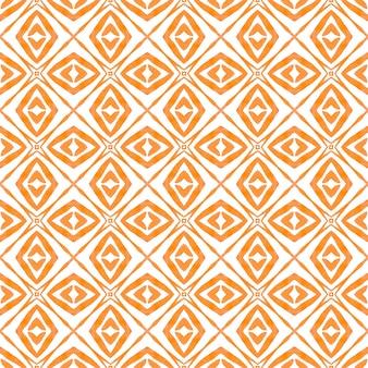 Tekstylny zniewalający nadruk, tkanina na stroje kąpielowe, tapeta, opakowanie. pomarańczowy, promienny, szykowny, letni design w stylu boho. kafelkowy tle akwarela. ręcznie malowane kafelkowe obramowanie akwarela.