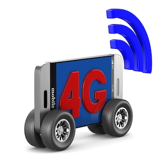 Telefon 4g na białej przestrzeni. ilustracja na białym tle 3d