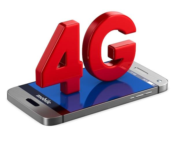 Telefon 4g na białym tle. izolowana ilustracja 3d