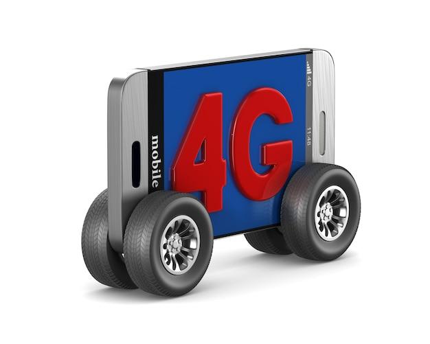 Telefon 4g. na białym tle, renderowania 3d