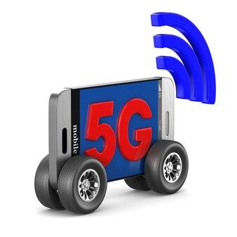 Telefon 5g na pustej przestrzeni. ilustracja na białym tle 3d