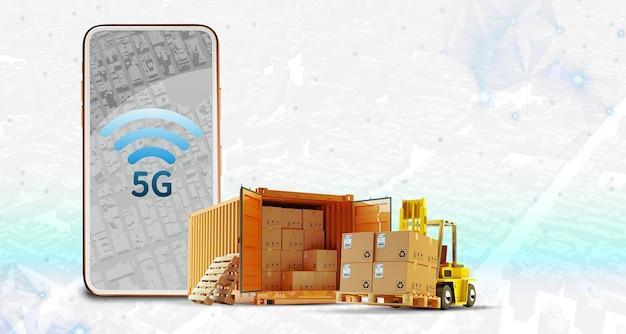 Telefon 5g, samochód ciężarowy bezprzewodowy system połączeń transport logistyczny