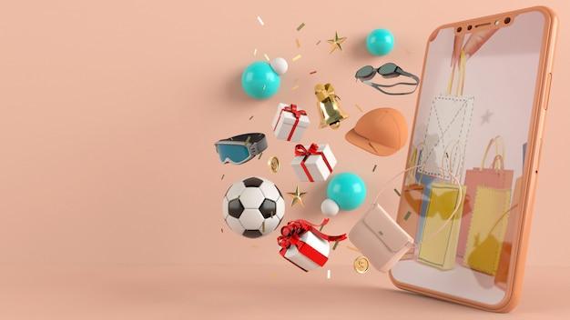 Telefon, aby wprowadzić treść otoczoną torbami na zakupy, koszykami na renderowaniu 3d na ścianie. - 3d ilustracji